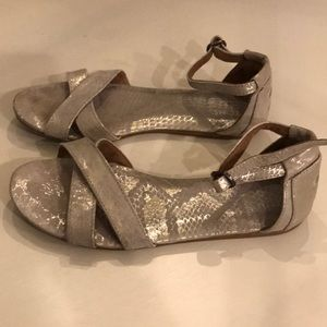 TOMS metallic silver champagne sandals